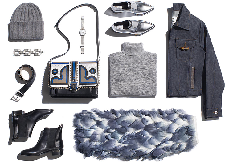 Net-A-Porter outfit, Acne Studios, flat lay