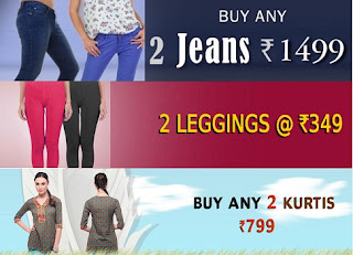 Yepme Women's Offer: Buy any 2 Jeans for Rs.1499, any 2 Kurtis for Rs.799 & any 2 Leggings for Rs.349 Only