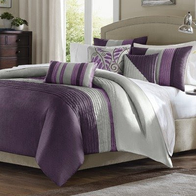 grey bedroom decorating ideas, purple grey comforter set, purple/grey ...