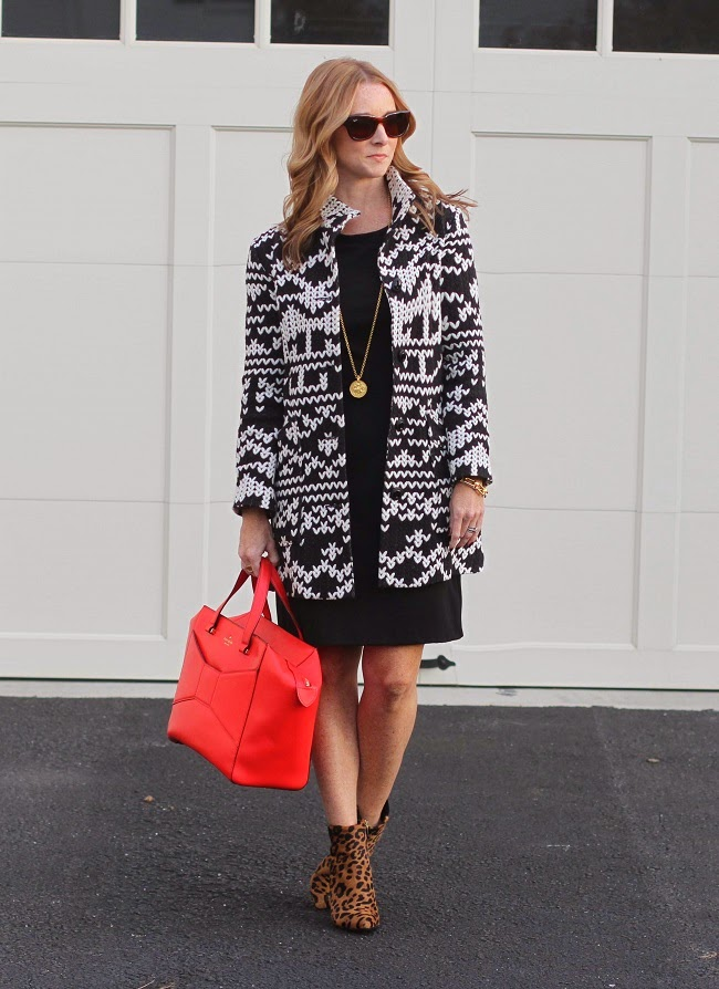 anthropologie jacket, gap dress, club monaco booties, kate spade bag, ray ban sunglasses