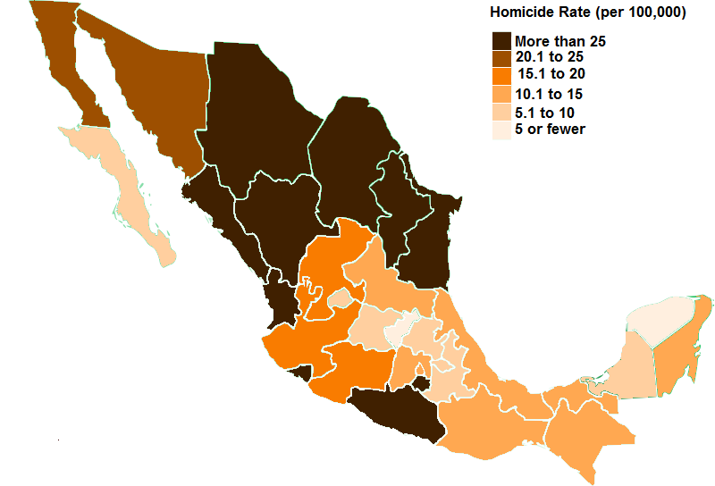 mexican states by homicide rate source oecd map by ryan mcmaken