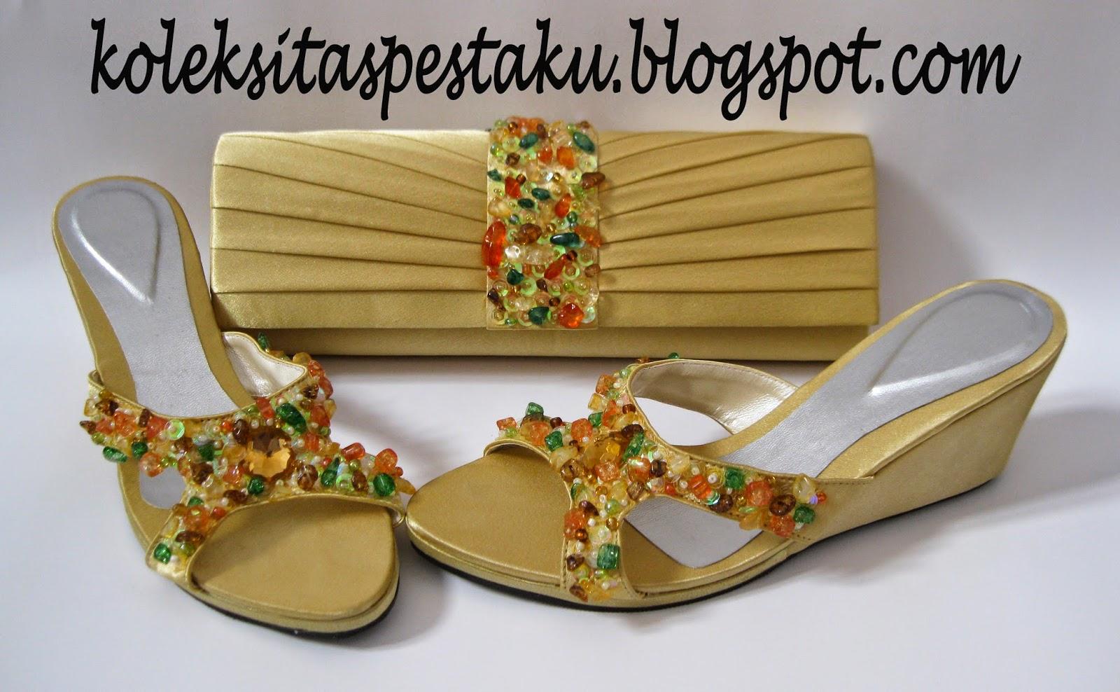 Wedges Sepatu dan Clutch Bag Tas Pesta Cantik Gold
