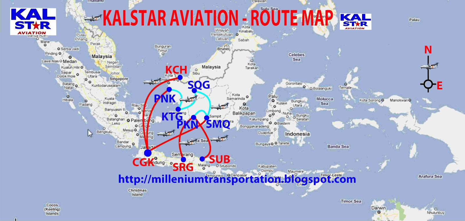 kalstar aviation routes map