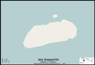 Mapa de la Isla Gasparillo  (Isla de Trinidad y Tobago)
