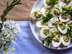 Wild Garlic Devilled Eggs