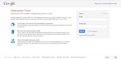 Cara Daftar Blog ke Google Webmaster Tools - Halaman Google Webmaster Tools