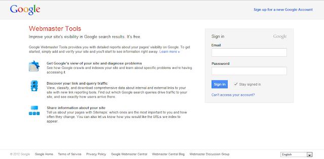 Cara Mendaftarkan Blog ke Google Webmaster Tools-Halaman Google Webmaster Tools