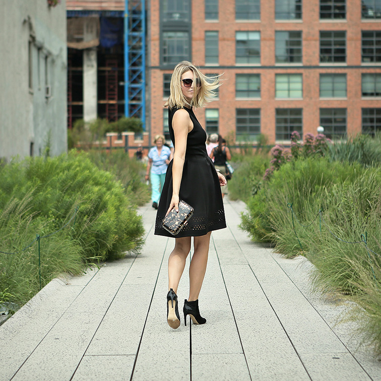 Ann Taylor laser cut neoprene LBD dress, little black dress, peep-toe pony hair booties, tortoiseshell patent leather hard clutch, #instaANN Instagram campaign on the Highline, New York City