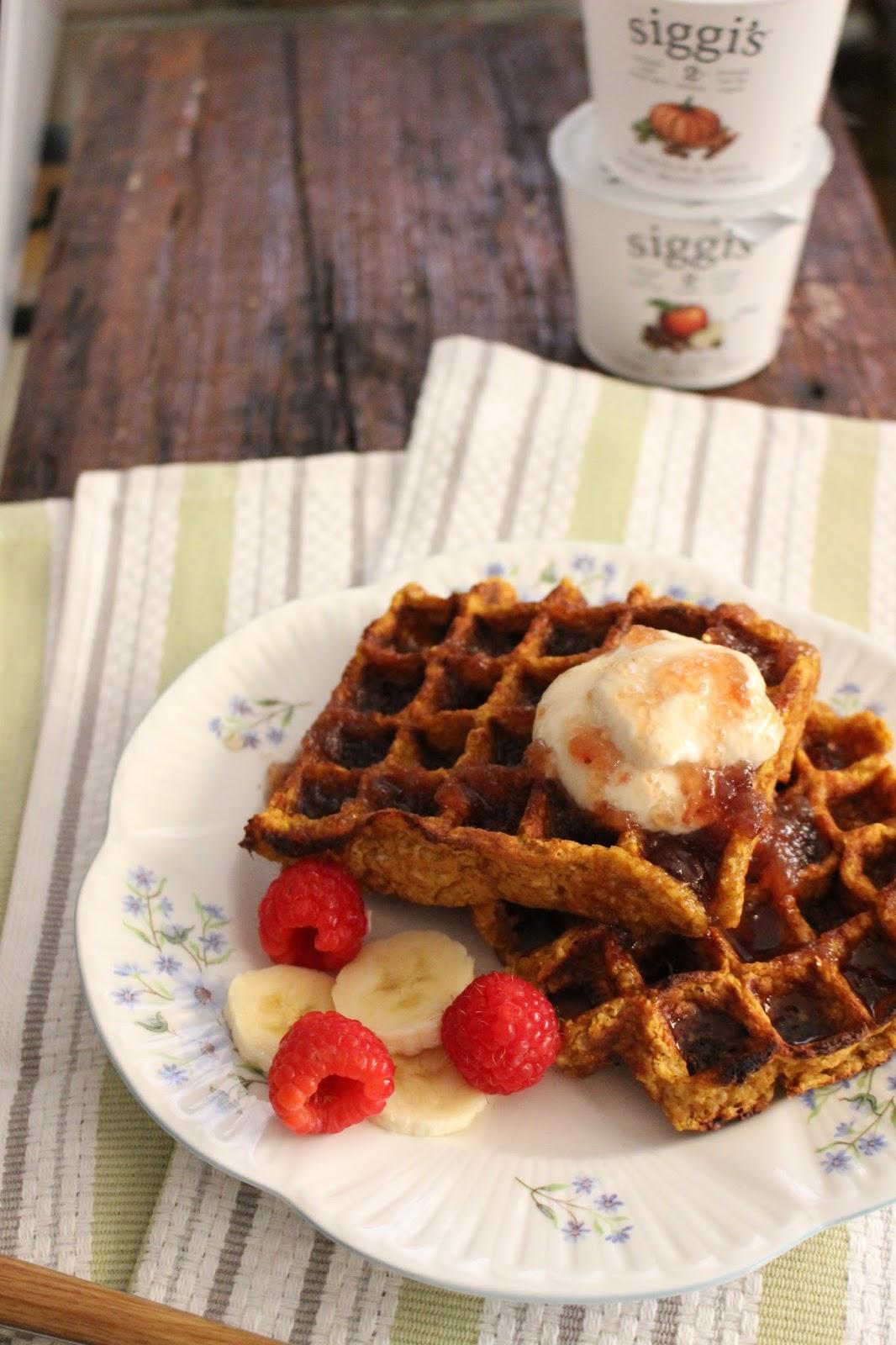 Whole Grain Pumpkin Yogurt Waffles With Fruit Syrup Yogurt Cream