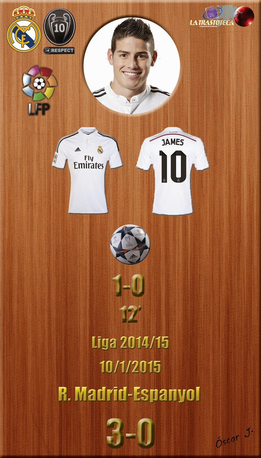 James Rodríguez (1-0) - Real Madrid 3-0 Espanyol - Liga 2014/15 - Jornada 18 - (10/1/2015)