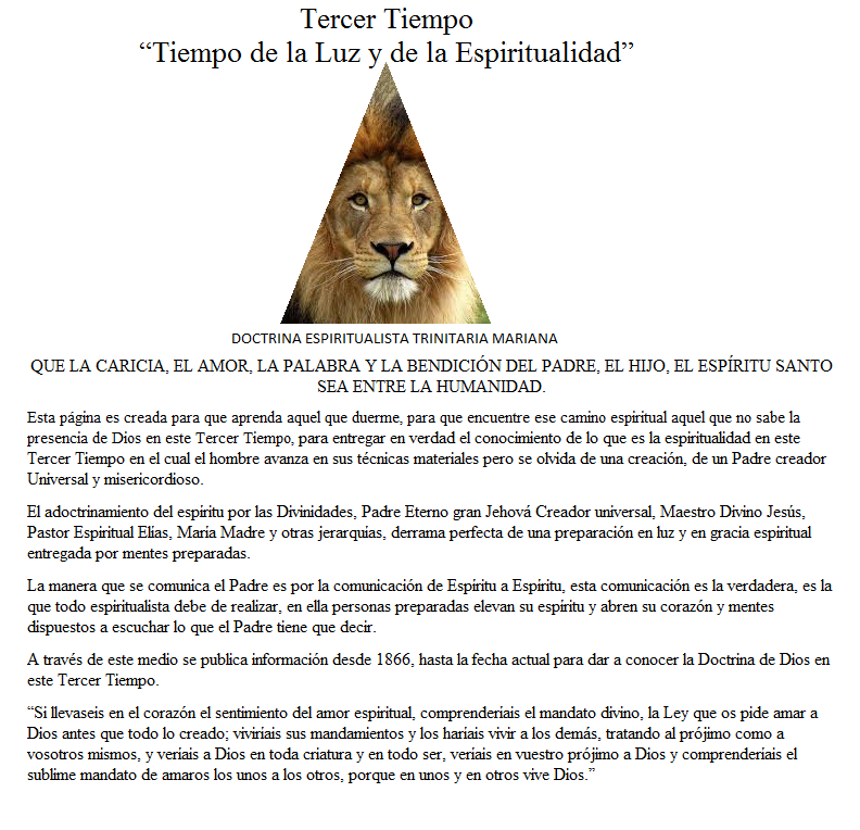 """Tercer Tiempo """"Tiempo de la Luz y de la Espiritualidad"""""""