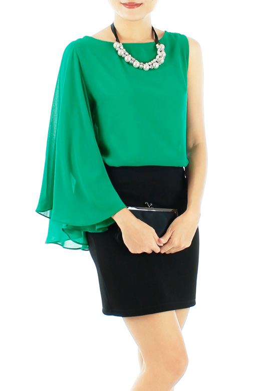 Emerald Green Bell Sleeve Party Blouse with One-sided Sleeve