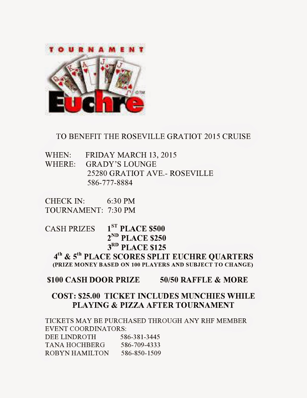 Euchre Tournament Fundraiser MIchigan