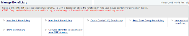 Online SBI Beneficiary Form