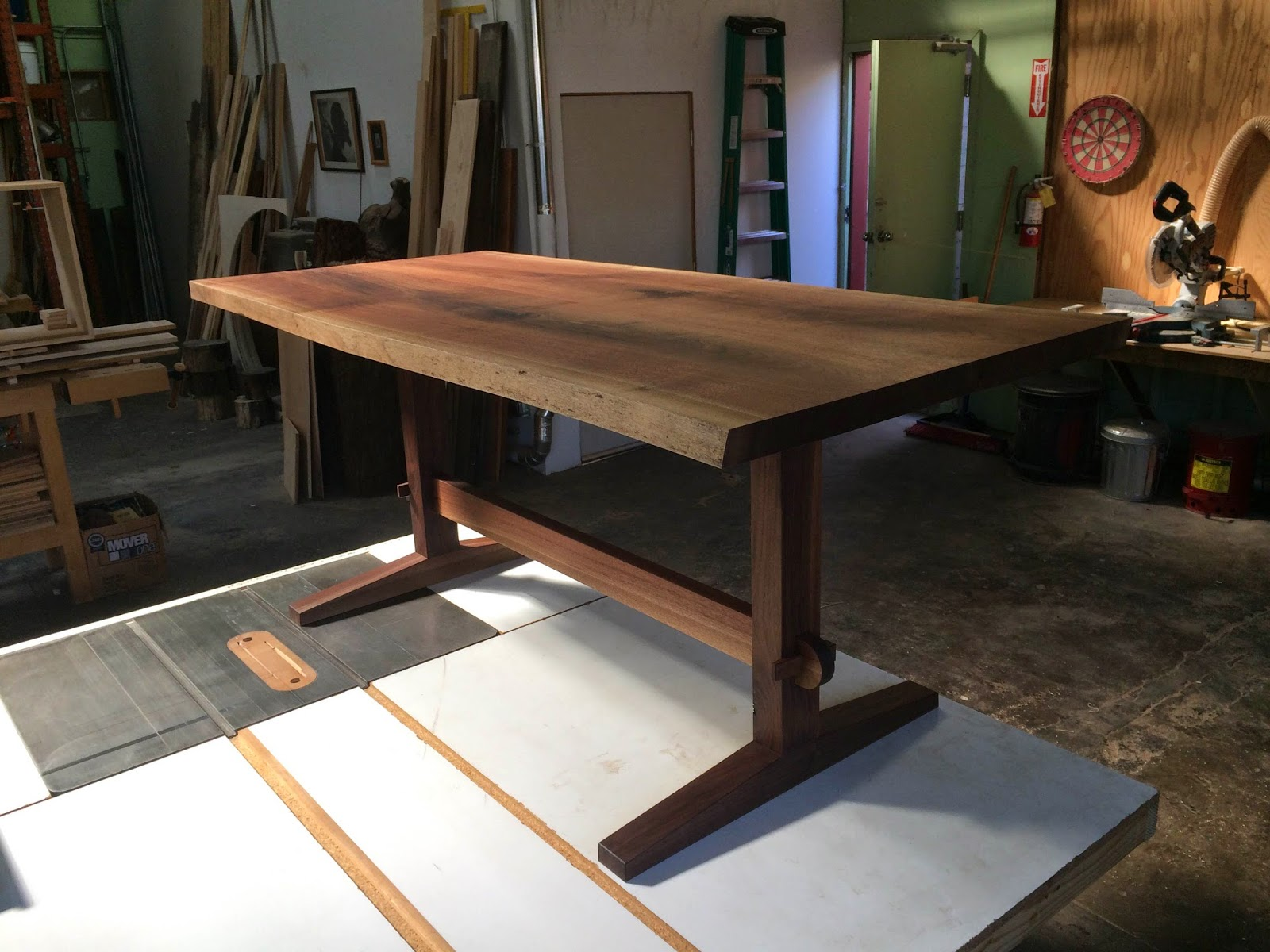 WALNUT TRESTLE TABLE WITH LIVE EDGE