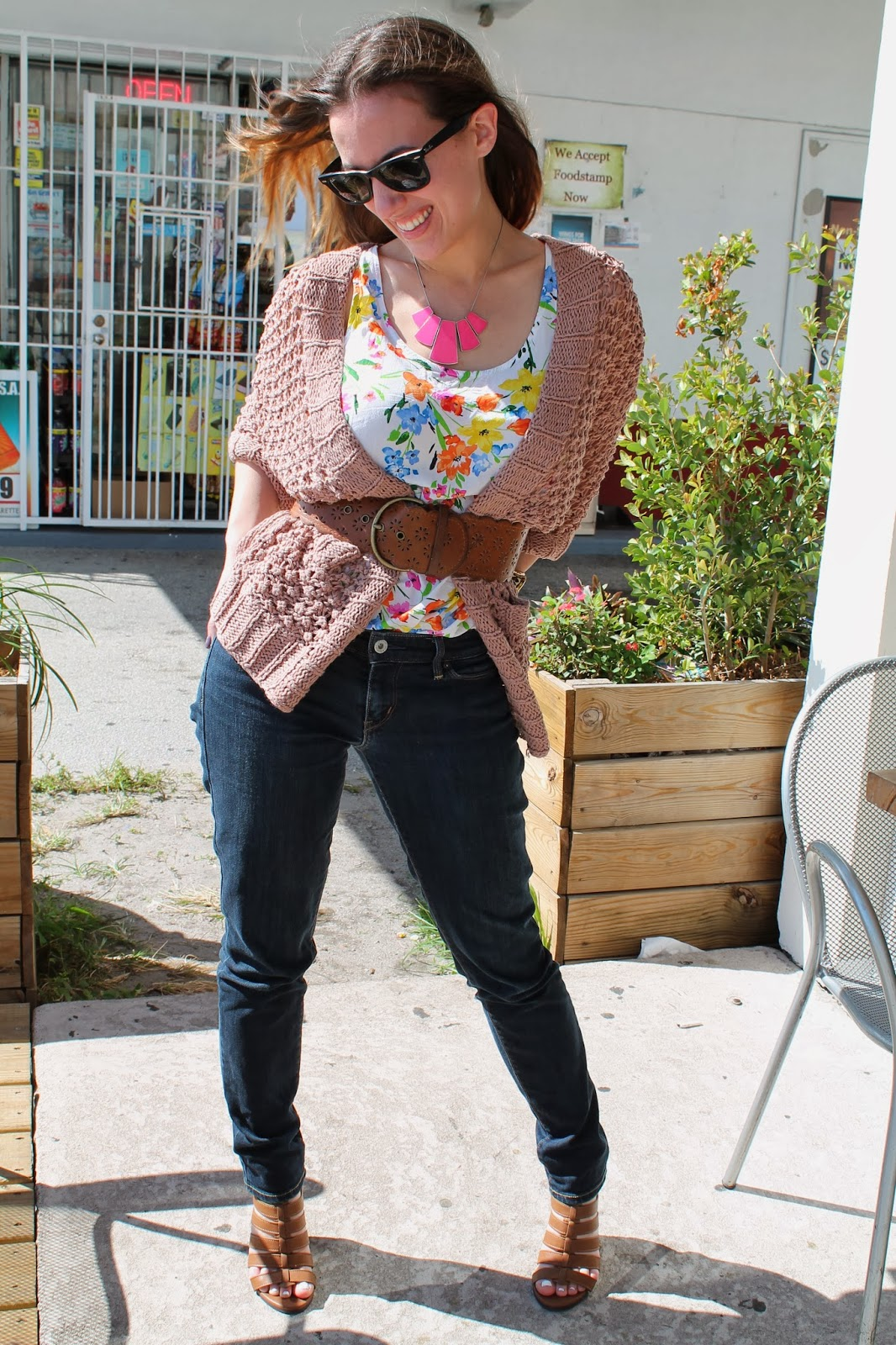 prep, boho, miami, fashion, style, ootd, what i wore, look book, floral, gladiator heels, knits, blush, street style