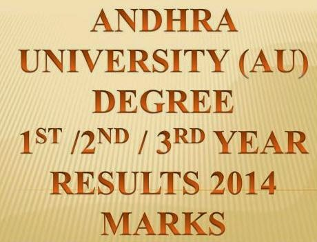 Andhra University (AU)  Degree 2014 Results 3rd ,2nd ,1st Year  BA / BSC / BCOM @ www.aucoe.info