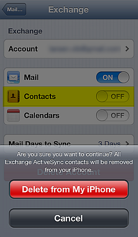 exchange password incorrect iphone