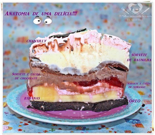 Receita prática de bolo-sorvete de banana split