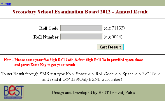 check matric result 2012 bihar board