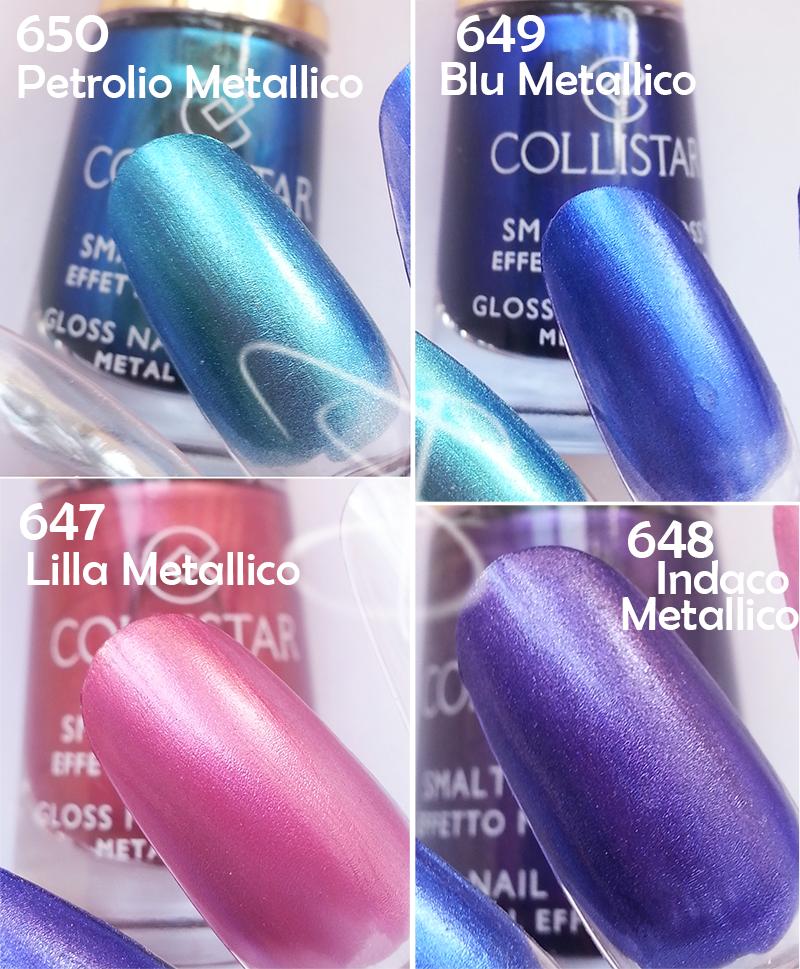 Swatch Swatches Collistar Smalto Gloss Effetto Metallico, Petrolio Metallico 650, Blu Metallico 649, Indaco Metallico 648, Lilla Metallico 647