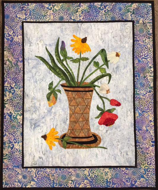 Appliqued Vase of Flowers
