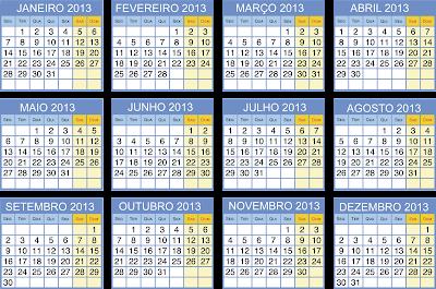 Calendários coloridos 2013