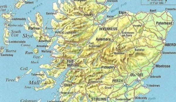 Online Maps Scotland Physical Map - Georgia physical map