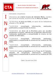 C.T.A. INFORMA CRÉDITO HORARIO CRISTOBAL NIETO, MARZO 2018