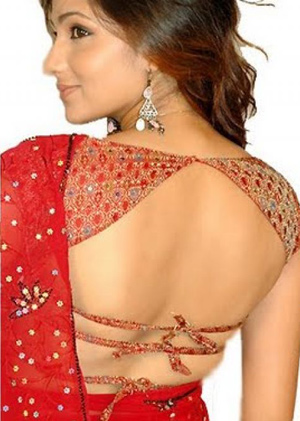 women Backless designs for saree blouses