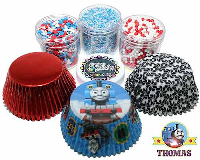 Kids Birthday party Thomas the train cupcake kit by Crispie Sweets sprinkles cake baking cups set