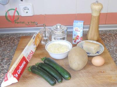 Ingredientes para el pastel de patata y calabcín.