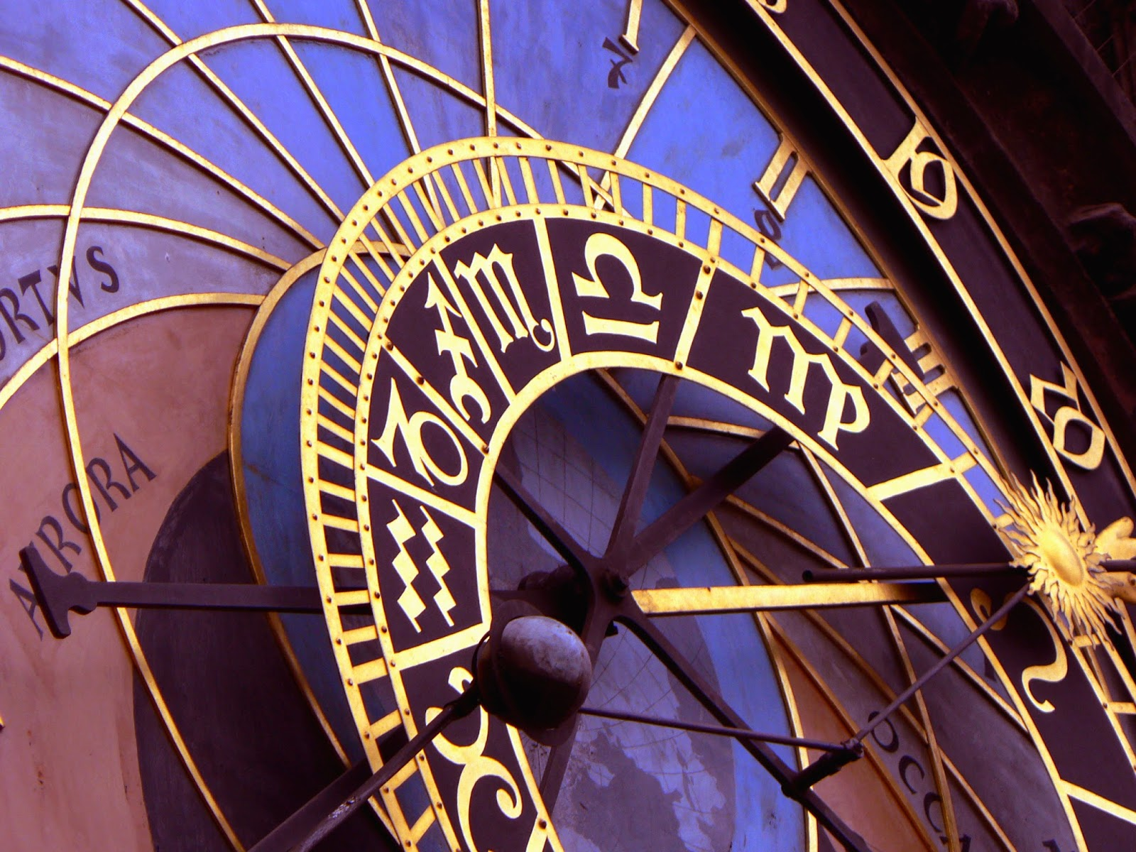 Astrological clock close-up