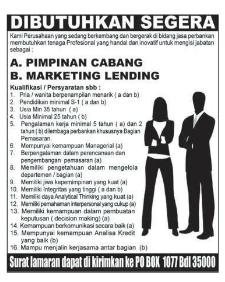 Lowongan Kerja PERUSAHAAN Perbankan Lampung