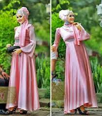 model gaun pesta muslimah bahan brokat