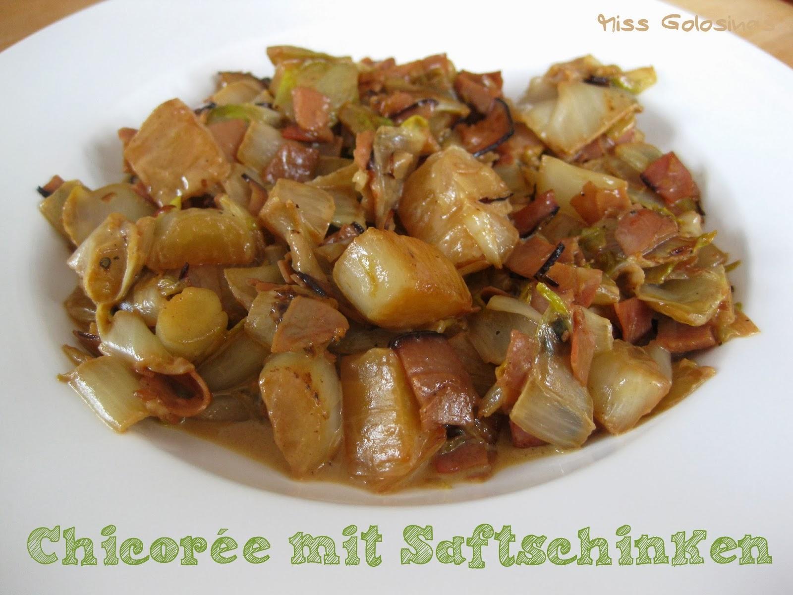 Chicorée, Endivias, Wintergemüse, Saftschinken, anbraten, bitter