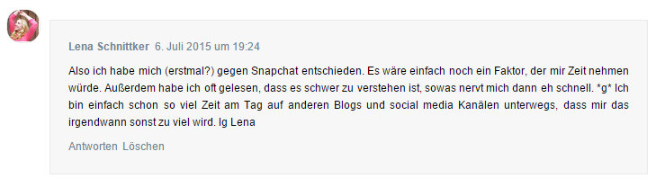 Lenas Meinung zu Snapchat