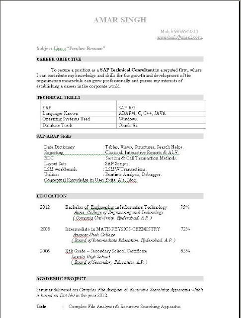 Free Download ABAP Fresher Resume Sample