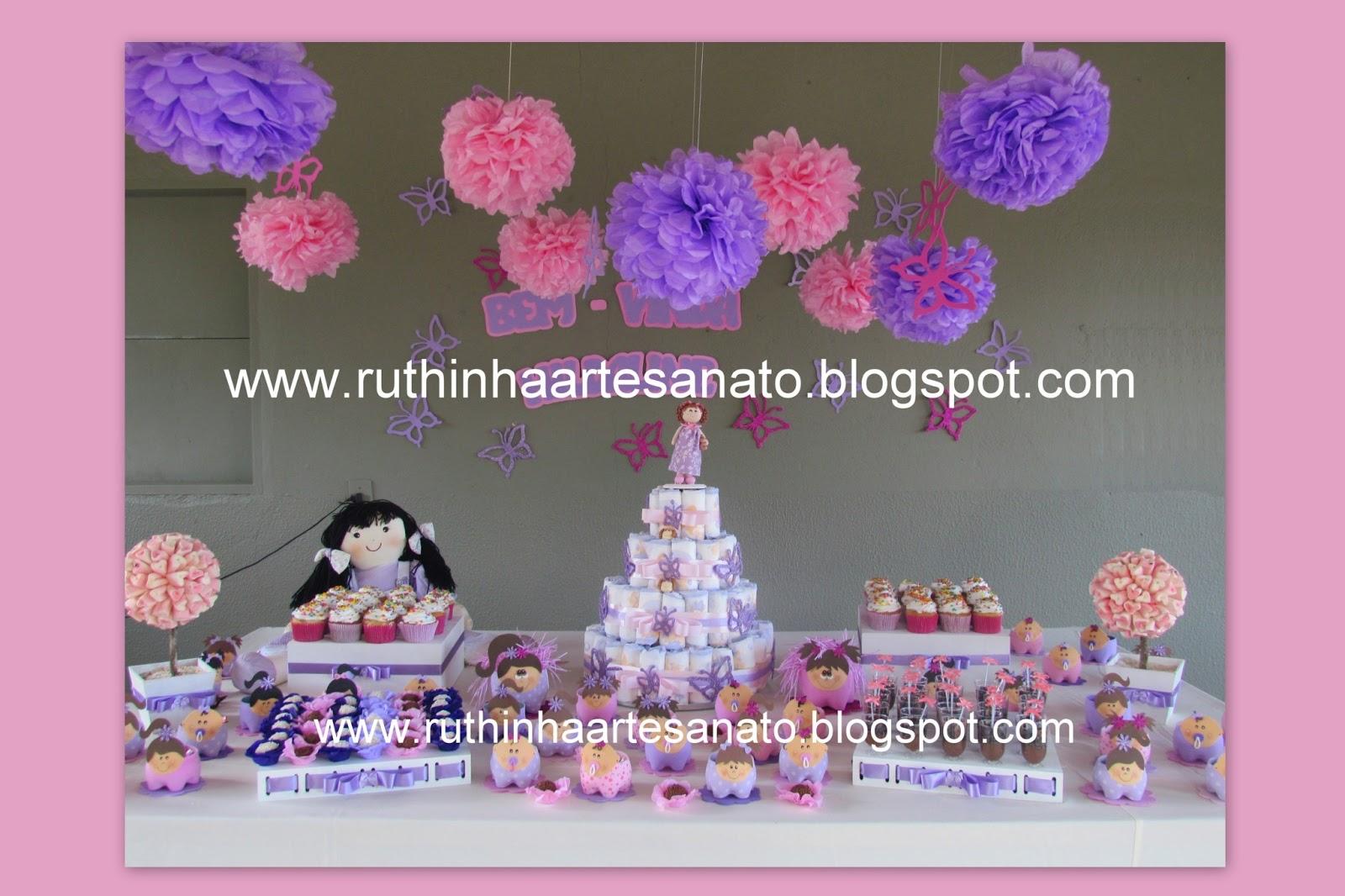 Ruthinha Artesanato Chá de fralda rosa e lilás  Madalena