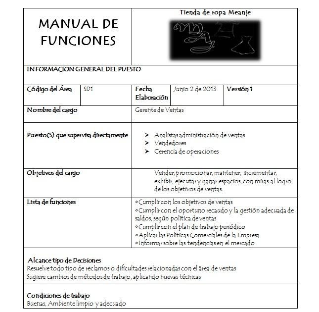 Tienda de ropa meanje calidad for Manual de funciones y procedimientos de un restaurante