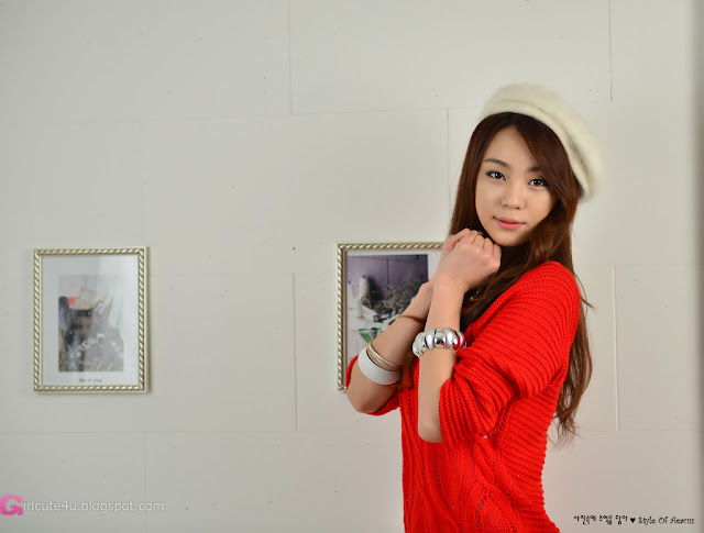 3 Lovely Ju Da Ha in Red Sweater  -Very cute asian girl - girlcute4u.blogspot.com