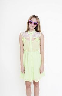 Bow Detail, Bright, Button Up, Collared, Cream, Crochet, Cut Out Detail, Dress, Elasticated Waist, Goldie, Lime Green, Made In Chelsea, MIC, Millie Mackintosh, Neon, Panels, Sleeveless, Tie Detail