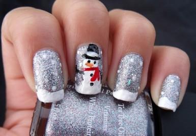 Glittery Silver Santa Nail Art