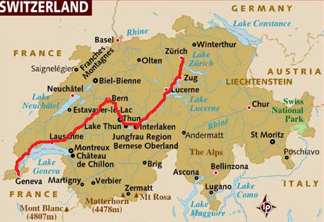 Driving Distances Switzerland Map
