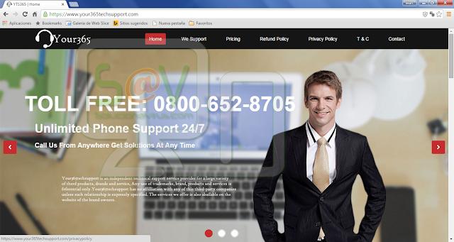 Your365techsupport.com pop-ups (Falso soporte)