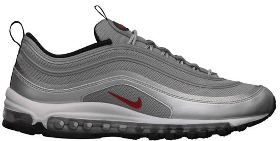 Nike Air Max \u0026#39;97 Premium Tape QS \u0026quot;Silver Bullet\u0026quot; Metallic Silver/Varsity Red-White-Black: