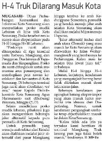 Truk Dilarang Masuk Kota Semarang