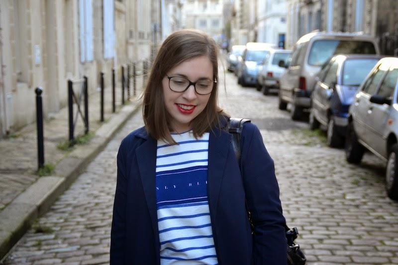 pull marinière pimkie et blazer bleu marine
