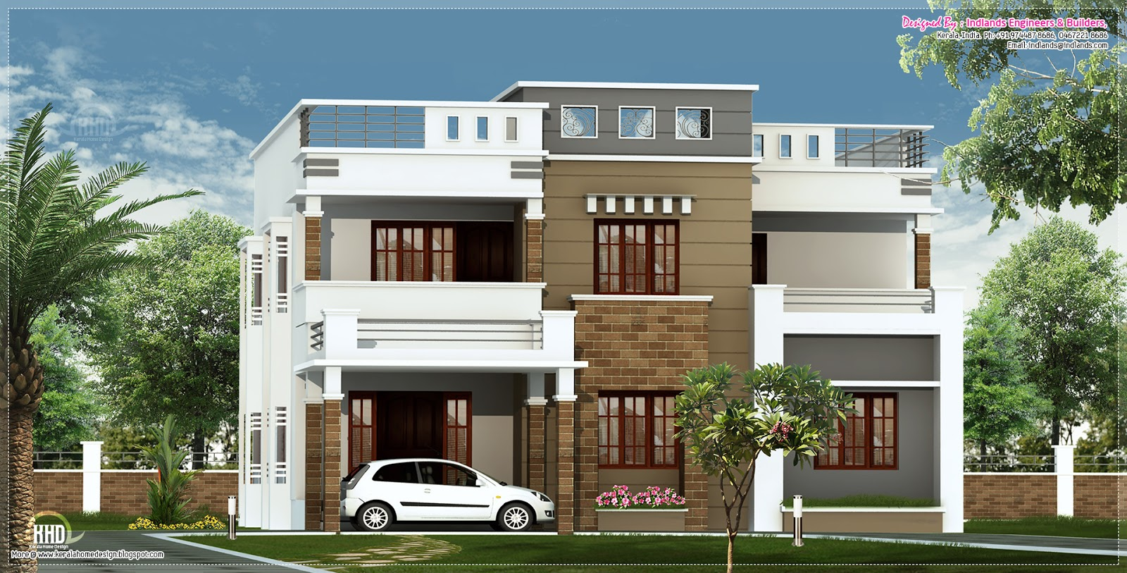 2600 flat roof villa elevation kerala home for Kerala home design flat roof elevation