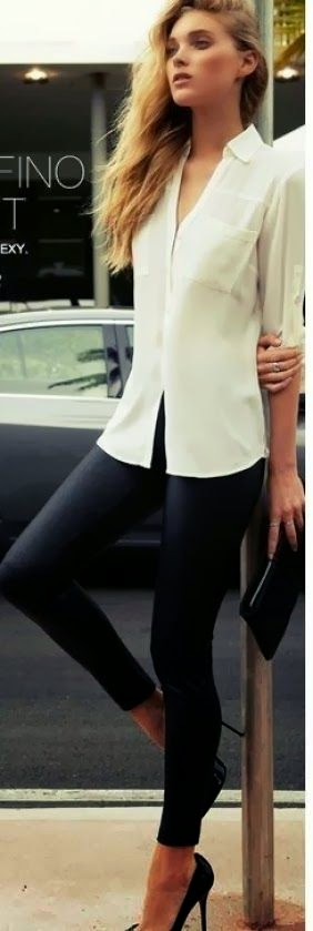 Attractive Tights with White Shirt, Clutch Bag And High-Heeled Shoes, Love It